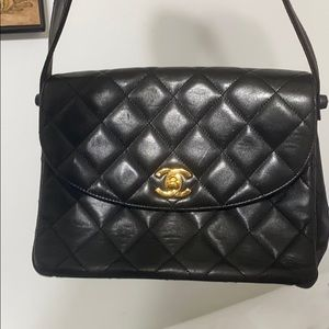 Chanel BLACK QUILTED LAMBSKIN SHOULDER FLAP BAG
